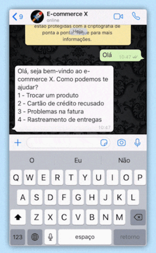 Chatbot funcionando no WhatsApp